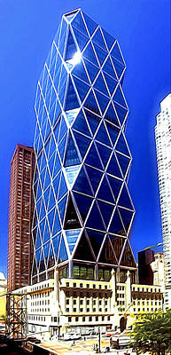 Fdr Painting -  Hearst Tower In New York City by Lanjee Chee