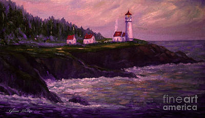 Portland Head Lighthouse Painting -  Heceta Head Lighthouse At Dawn's Early Light by Glenna McRae