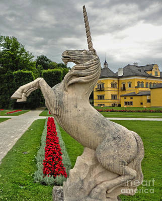 Photograph -  Hellbrunn Palace Unicorn by Gregory Dyer