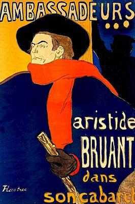 Art Nouveau Drawing -  Henri De Toulouse Lautrec French 1864 1901 Aristide Bruant Dans Son Cabaret 1892 by Anonymous