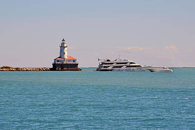 Historical Chicago Harbor Light Art Print