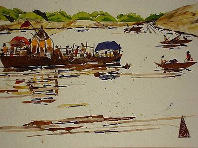 River Scenes Mixed Media -  Holy Trip  by Basant Soni