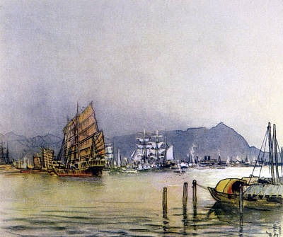 Hong Kong Drawing -  Hong Kong  The Harbour        Date 1931 by Mary Evans Picture Library