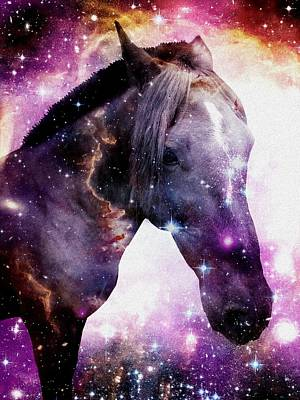 Surrealism Mixed Media -  Horse In The Small Magellanic Cloud by Anastasiya Malakhova