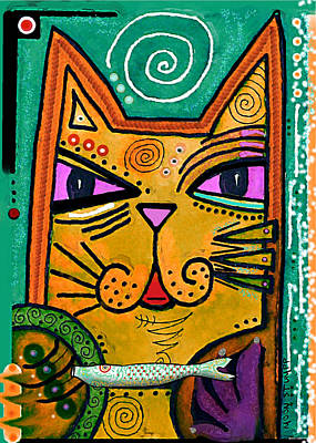 Painted Mixed Media -  House Of Cats Series - Fish by Moon Stumpp