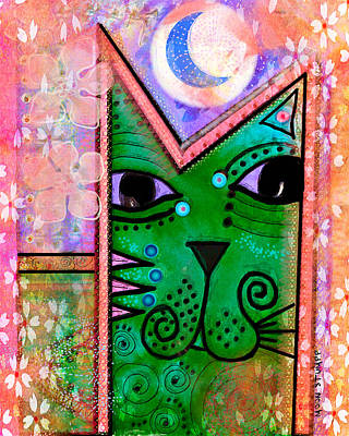 Painted Mixed Media -  House Of Cats Series - Moon Cat by Moon Stumpp