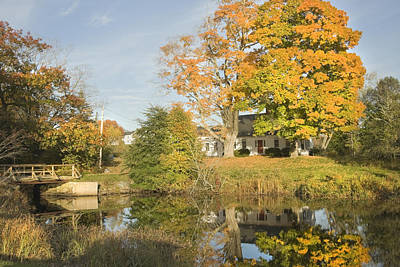 Cape Estate Photograph -  House Reflection In Pond Bristol Maine by Keith Webber Jr