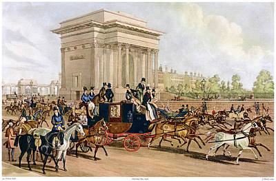 Hyde Park Drawing -  Hyde Park Corner,  Full Of Traffic by Mary Evans Picture Library