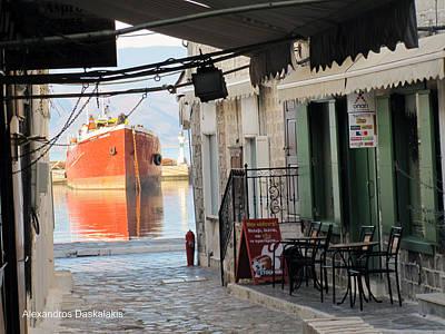 Hydra Island Photograph -  Hydra And Ship by Alexandros Daskalakis