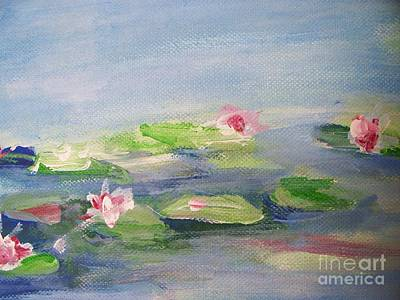 Lilly Pond Drawing -  Impressionistic Lilies Monet by Eric  Schiabor