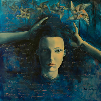 Lyric Painting -  In A Half Forgotten Dream by Dorina  Costras