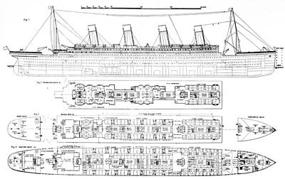 Liner Drawing -  Inquiry Into The Loss Of The Titanic Cross Sections Of The Ship  by English School