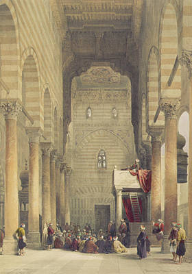 Crowds Painting -  Interior Of The Mosque Of The Metwalys by David Roberts