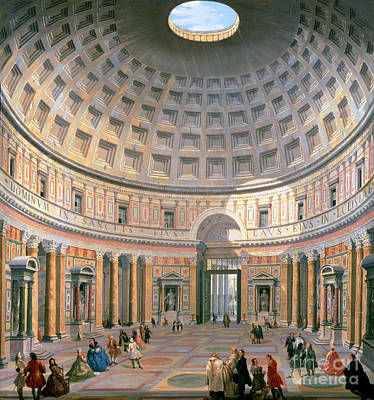 Corridor Painting -  Interior Of The Pantheon by Panini