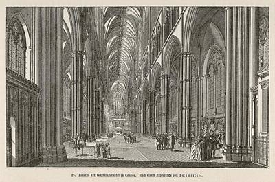 Westminster Abbey Drawing -  Interior Of Westminster Abbey by Mary Evans Picture Library