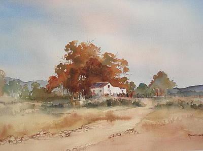Karoo Painting -  Isolated Karoo Farmstead by Marion Langton