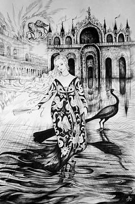 Italian Fantasies.venice. Acqua Alta Art Print by Anna  Duyunova