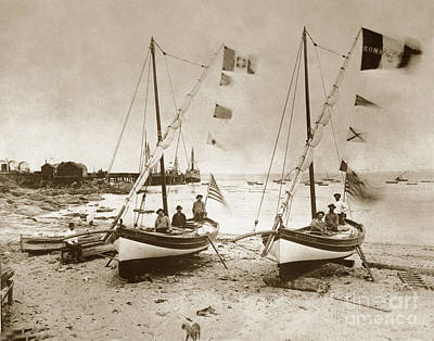Photograph -  Italian Feluccas Fishing Boat Monterey Beach California1896 by California Views Archives Mr Pat Hathaway Archives