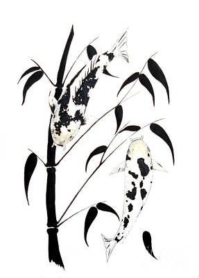 Lilly Pond Painting -  Japanese Koi Ginrin And Bekko Bamboo Painting by Gordon Lavender