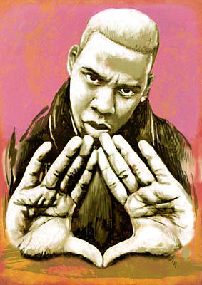 Jay Z Drawing -  Jay-z Art Sketch Poster by Kim Wang