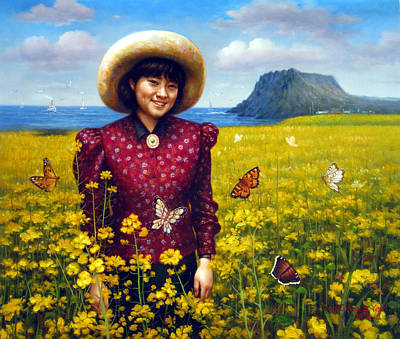 Korea Painting -  Jeju Island Girl by Yoo Choong Yeul