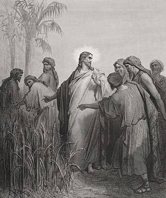 New Testament Drawing -  Jesus And His Disciples In The Corn Field by Gustave Dore