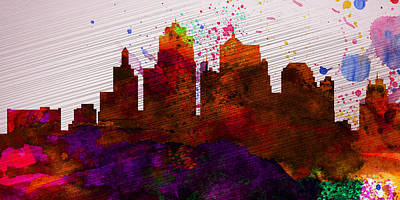 Kansas City Digital Art -  Kansas City Skyline by Naxart Studio