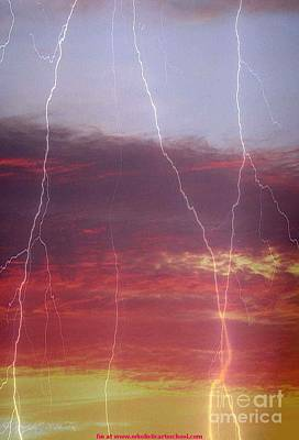 Photograph -  Kansas Sunrise Lightning by PainterArtist FIN