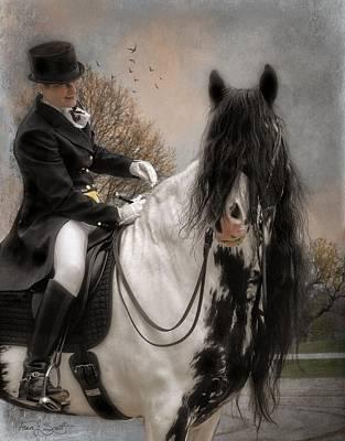 Long Mane Mixed Media - Drum Horse Dressage by Fran J Scott