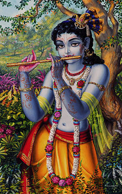 Temple Painting -  Krishna With Flute  by Vrindavan Das