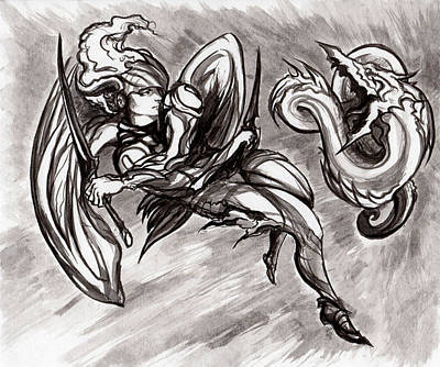Drawing -  Kyo Battles Shade by Miguel Karlo Dominado