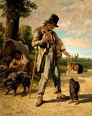 Gustave Courbet Painting -  L Aumone D Un Mendiant by Gustave Courbet