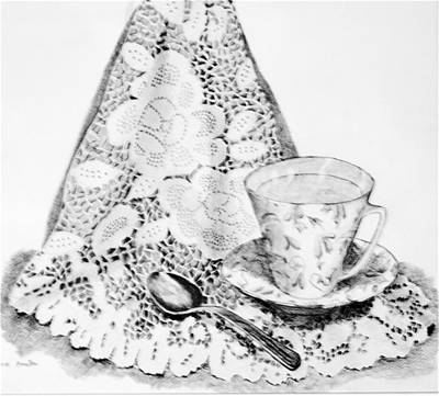 Lace With Cup Art Print