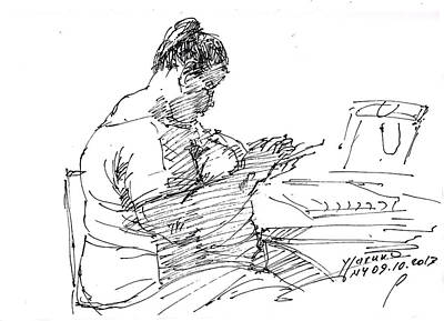 Sketch Drawing -  Lady On Smartphone  by Ylli Haruni