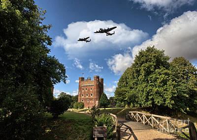 Lancaster Bomber Digital Art -  Lancaster Over Tattershall by J Biggadike