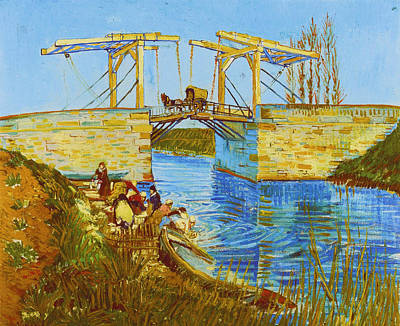 Langlois Bridge At Arles With Women Washing Art Print by Vincent van Gogh