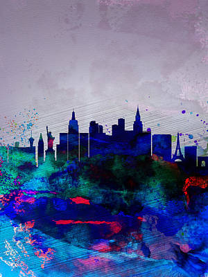 Architectural Painting -  Las Vegas Watercolor Skyline by Naxart Studio