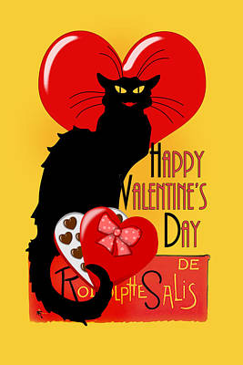 Candy Digital Art -  Le Chat Noir Valentine  by Gravityx9  Designs