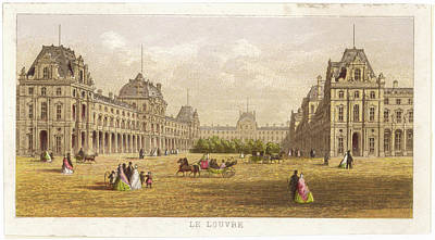 Louvre Drawing -  Le Louvre  General View        Date by Mary Evans Picture Library