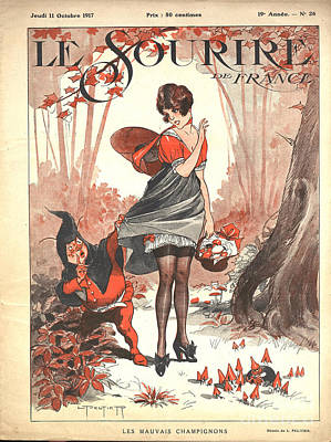 Nineteen-tens Drawing -  Le Sourire 1917 1910s France Pin-ups by The Advertising Archives