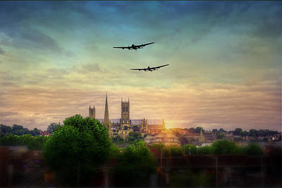 Bomber Command Photograph -  Lincoln Lancaster Flyby by Jason Green