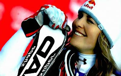 Skiing Action Painting -  Lindsey Vonn Skiing by Lanjee Chee