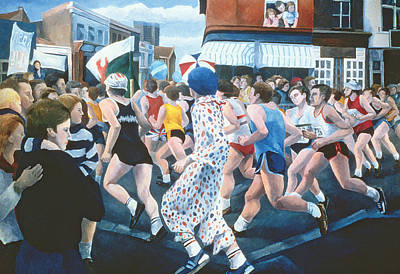 Crowds Painting -  London Marathon by Cristiana Angelini