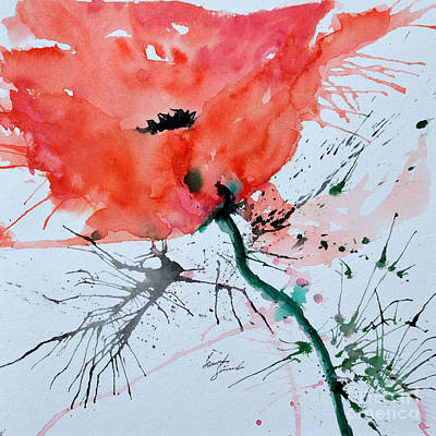 Lonely Poppy Original by Ismeta Gruenwald