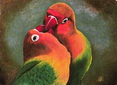 Loving Lovebirds Original by Linda Weldon