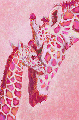 Digital Art -  Loving Pink Giraffes by Jane Schnetlage