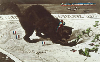 Cat Map Drawing -  Lucky Black Cat On Map Chasing  German by Mary Evans Picture Library