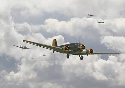 Luftwaffe Digital Art -  Luftwaffe Ju52  - Stalingrad by Pat Speirs