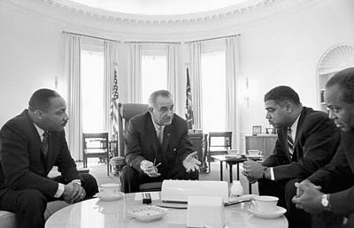White House Photograph -  Lyndon Baines Johnson 1908-1973 36th President Of The United States In Talks With Civil Rights  by Anonymous