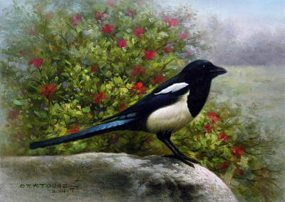 Korea Painting -  Magpie by Yoo Choong Yeul